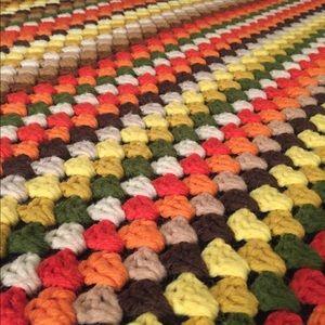 vintage handmade crochet afghan blanket